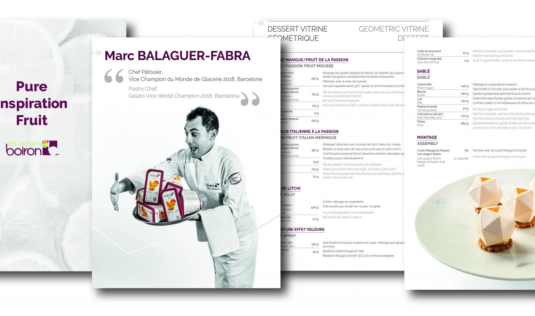 "Les vergers Boiron edit ""Pure Inspiration Fruit"", a recipe book featuring current trends to inspire chefs around the world"