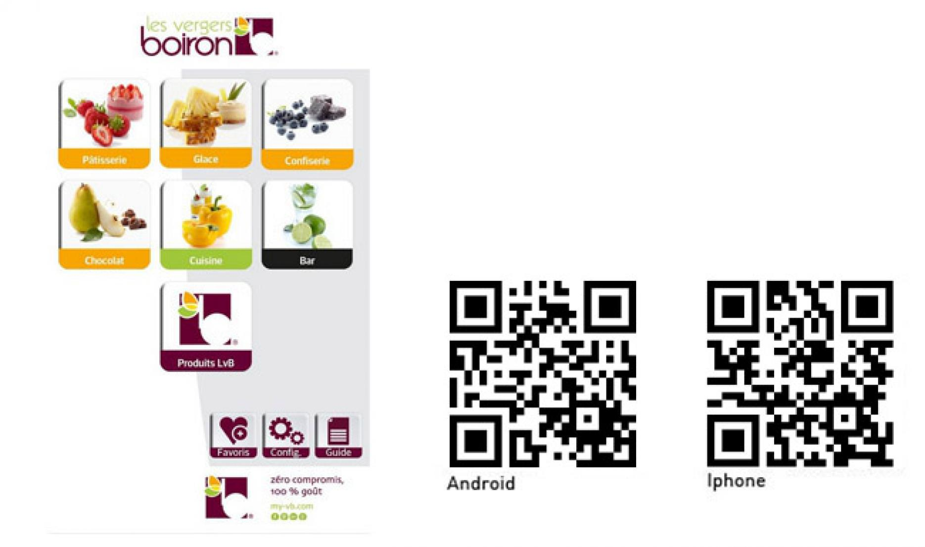 Les vergers Boiron mobile application: A 100% practical application for Pastry Chefs, Chefs and Barmen.