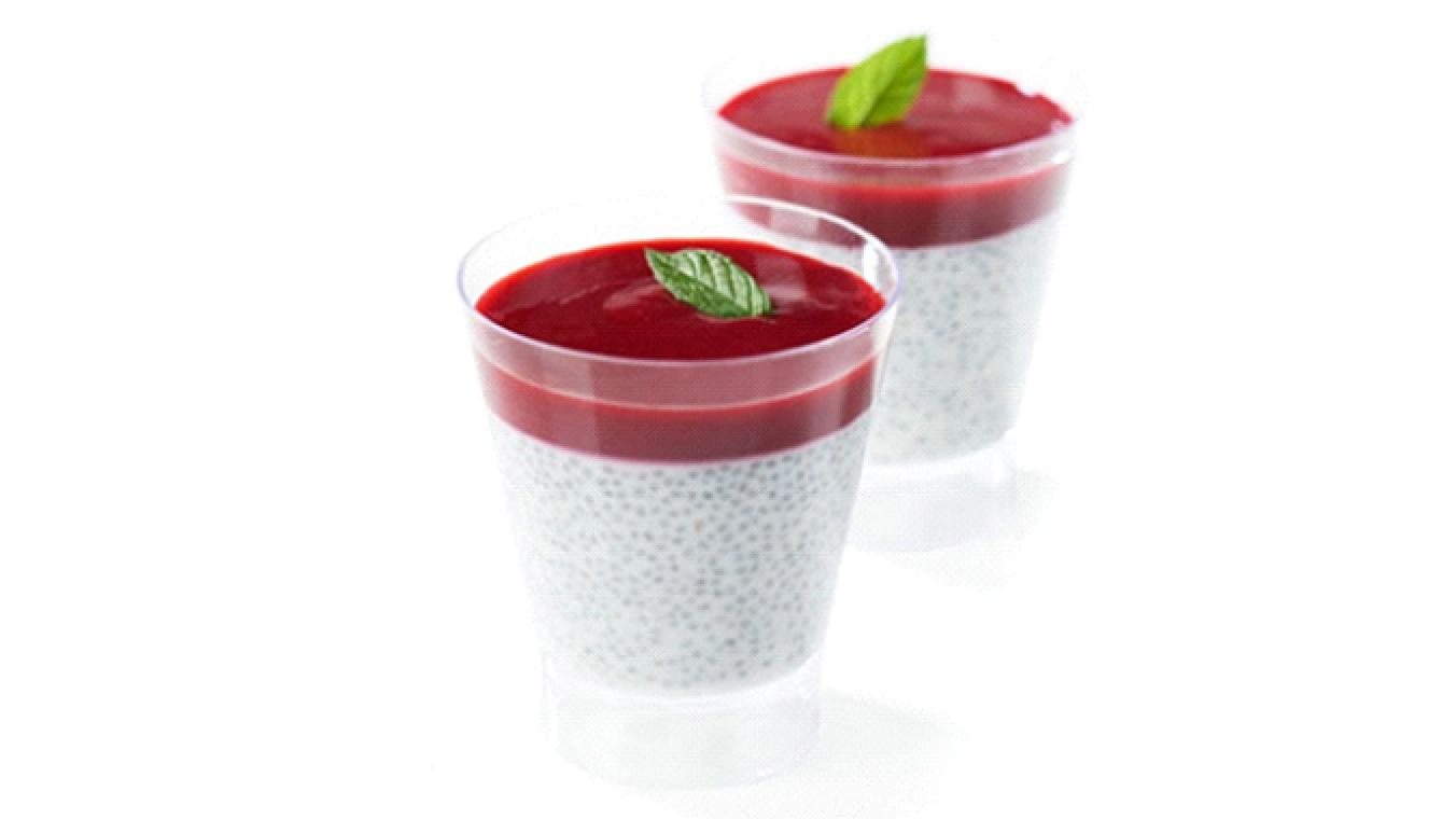 Chia seeds and raspberry shot glasses