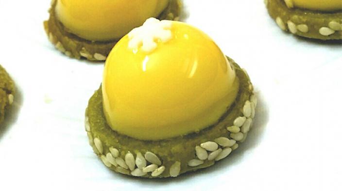 Recette Crème de yuzu sur sablé au matcha