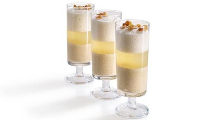 Glasdessert karamell, zitrone und banane