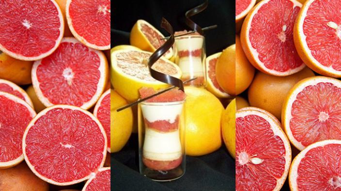 Pink grapefruit tiramisu verrine