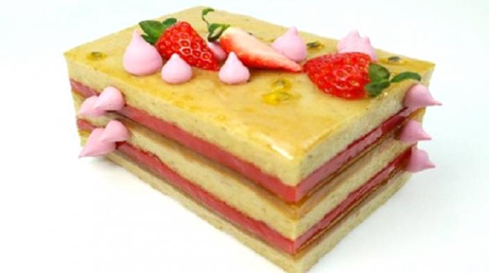 Passion fruit strawberry cake reinterpreted