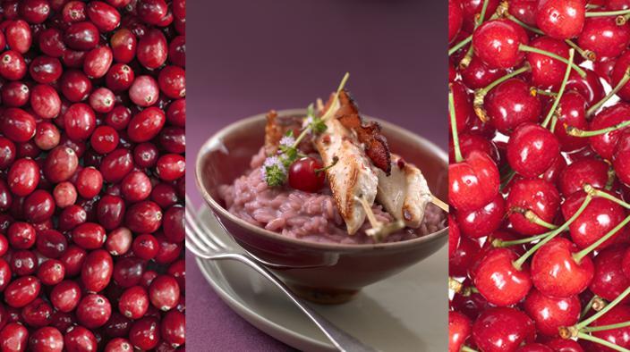 Putenbrust gebraten und geräuchert, risotto mit cranberry- & sauerkirschpüree