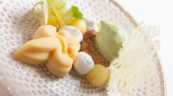 Pineapple parfait, green asparagus ice-cream, french toast with sesame and lemon meringue