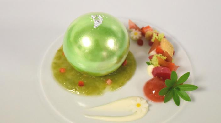 Sugar pearl with woodruff mousse,  wild strawberry sorbet, on rhubarb compote and thyme streuzel
