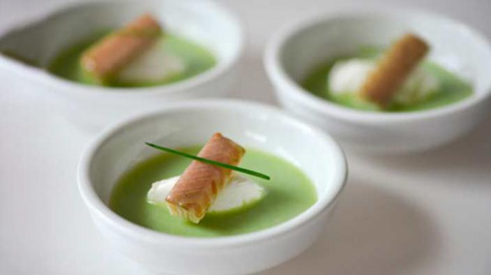 CUCUMBER SOUP, SMOKED EEL AND GOAT'S CHEESE