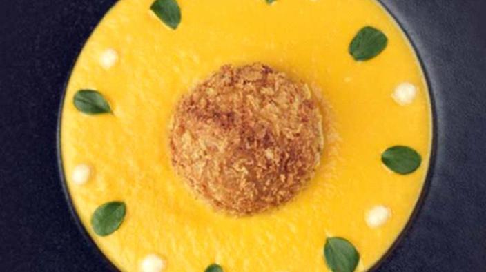 Pumpkin cream, fried bay prawns with coriander