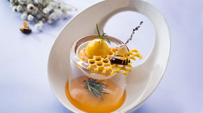 Honey, Apricot & Rosemary plated dessert