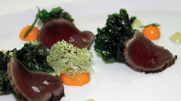 Reindeer pastrami, fried kale & sea buckthorn fluid
