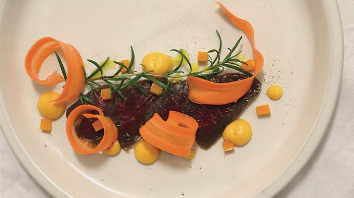 Cured beef with sea buckthorn and champagne jelly, pumkin cream flavored with sea buckthorn and raw carrots