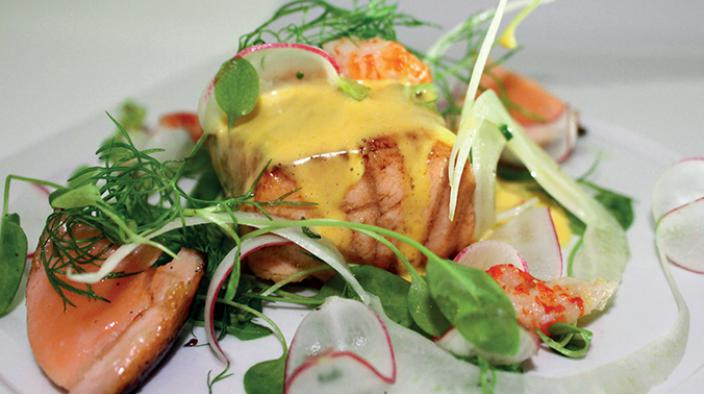 Salmon, crayfish & sea buckthorn hollandaise