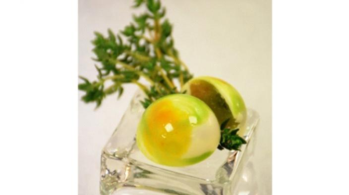 Summer candy  marzipan with thyme and candied lemon