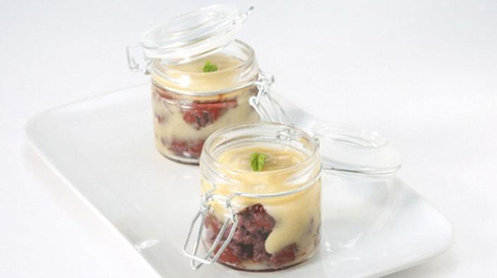 Black pudding and pear puree