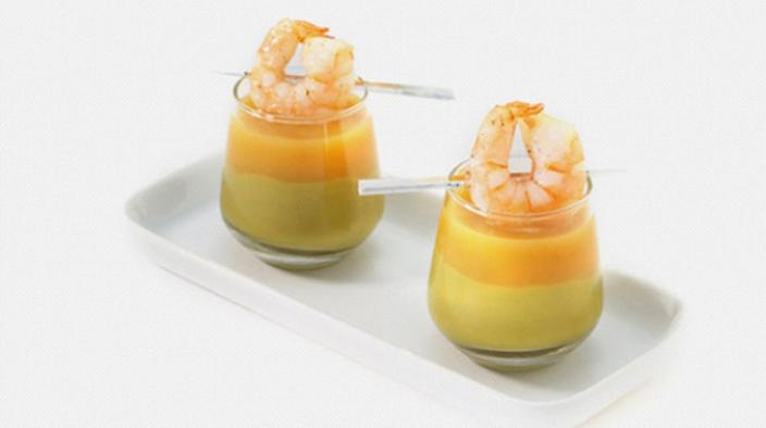 Guacamole and marinated mango prawns in a shot glass