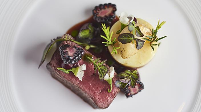 Venison, Blackberry, Confit potatoes